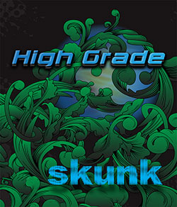 "Black green and blue logo for ""High Grade Skunk"" synthetic cannabis"