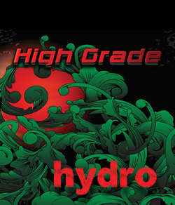 "Black green and red logo for ""High Grade Hydro"" legal incense"
