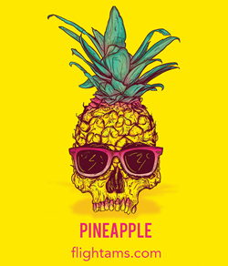 Logo for Pineapple legal online on a website that Image with a black dragon and sun for a website that has synthetic marijuana for sale