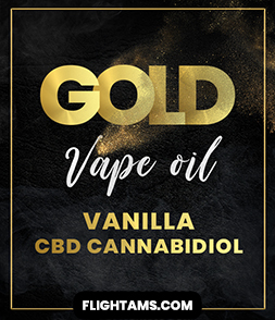 Black and gold graphic logo for CBD Vape Oil called Gold